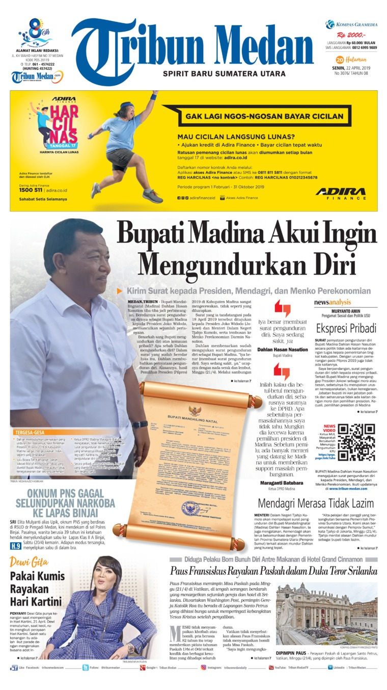 Tribun Medan Digital Newspaper 22 April 2019