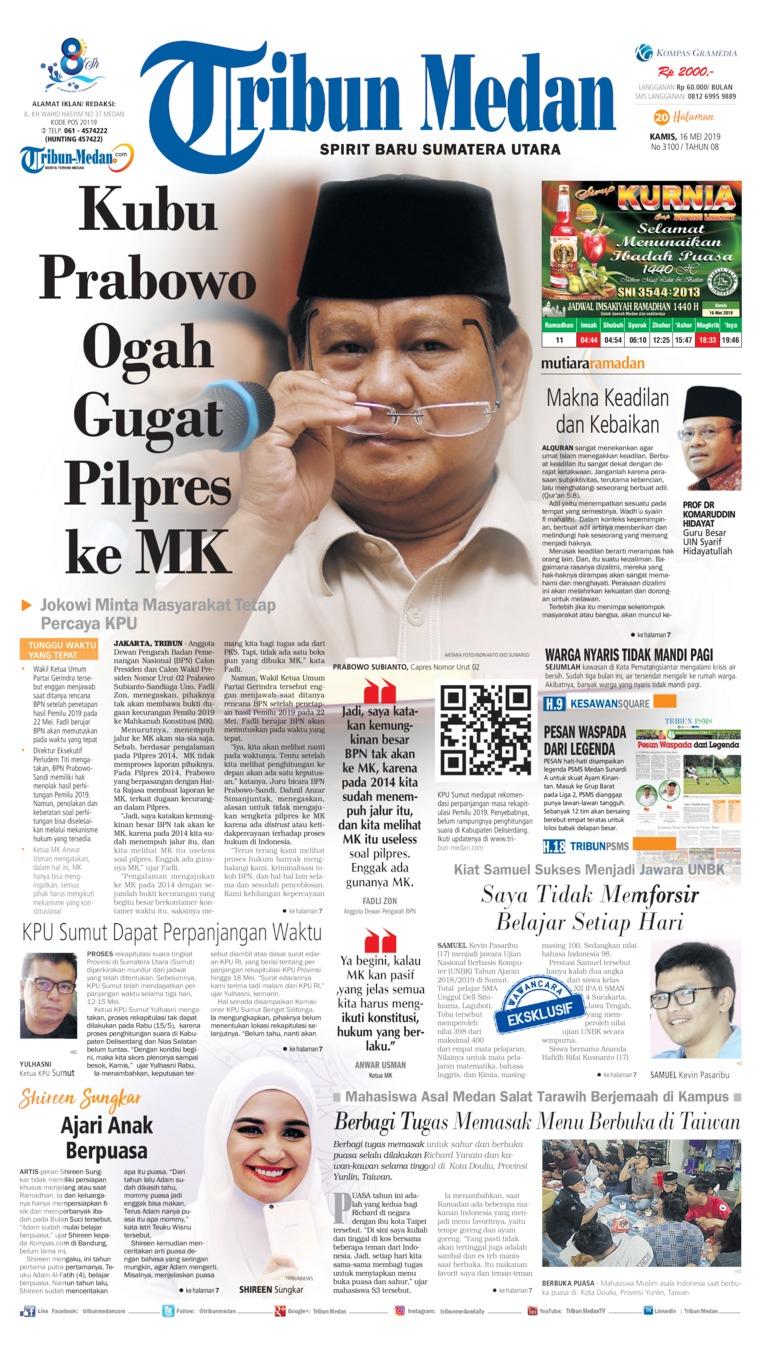 Koran Digital Tribun Medan 16 Mei 2019