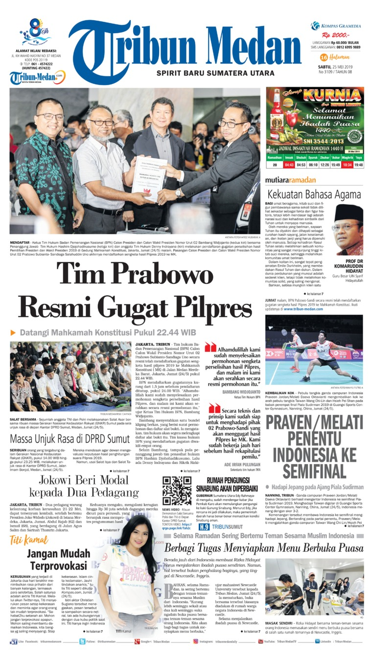 Tribun Medan Digital Newspaper 25 May 2019