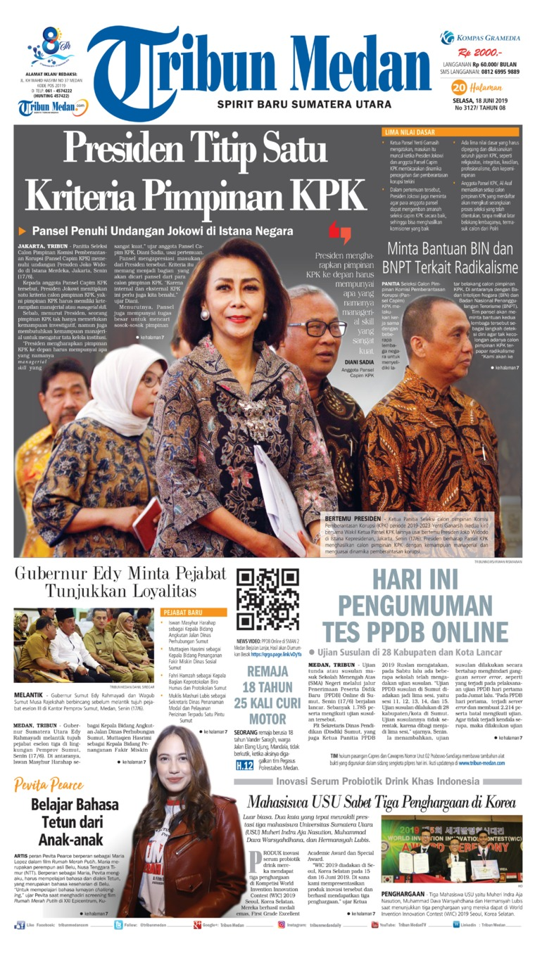 Tribun Medan Digital Newspaper 18 June 2019