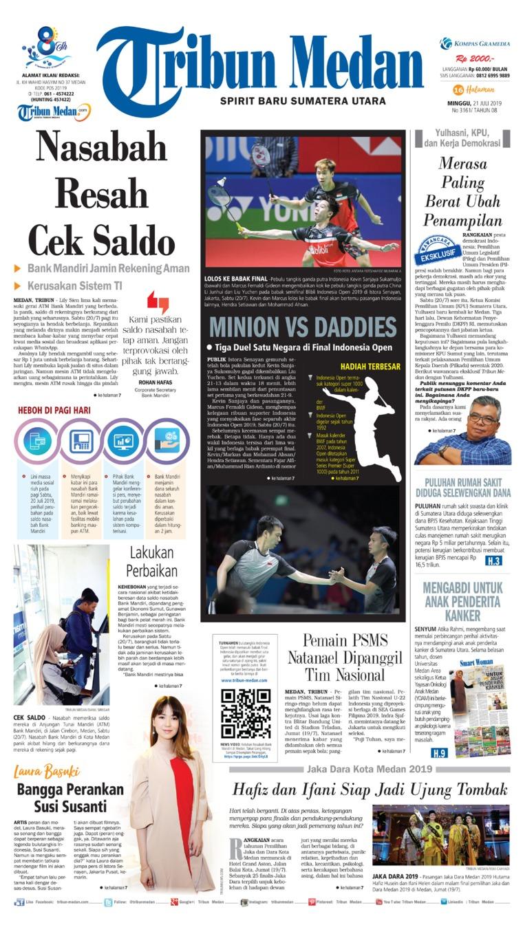 Tribun Medan Digital Newspaper 21 July 2019