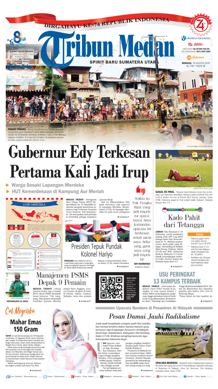 Tribun Medan Digital Newspaper 18 August 2019