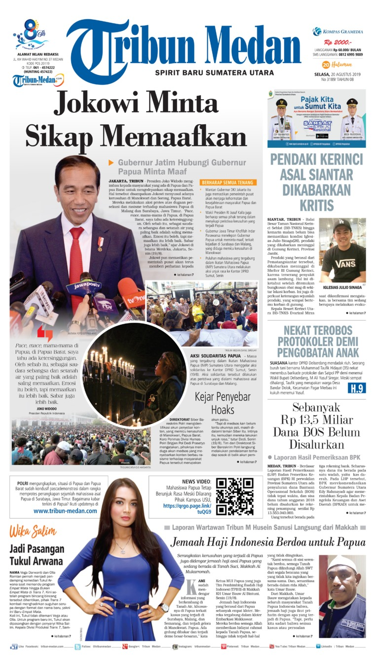 Tribun Medan Digital Newspaper 20 August 2019