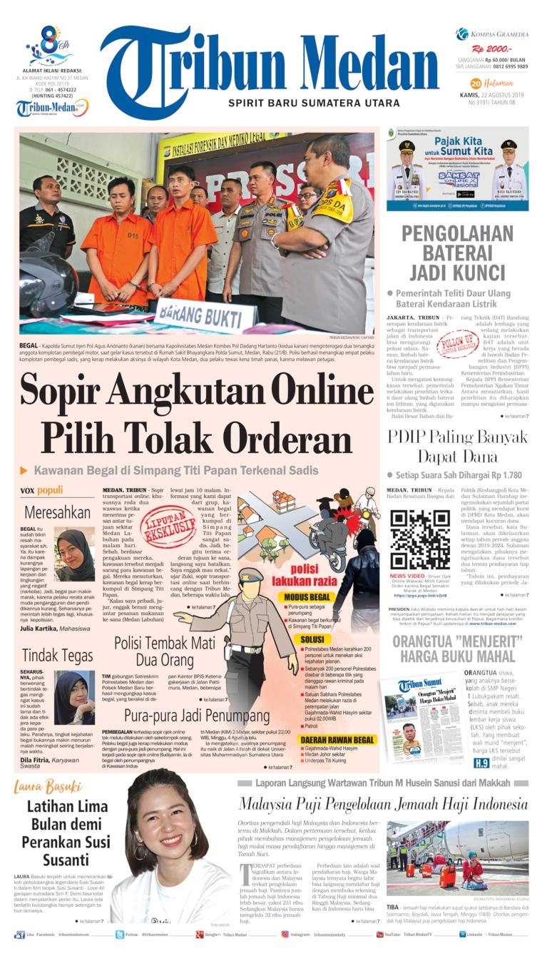 Tribun Medan Digital Newspaper 22 August 2019