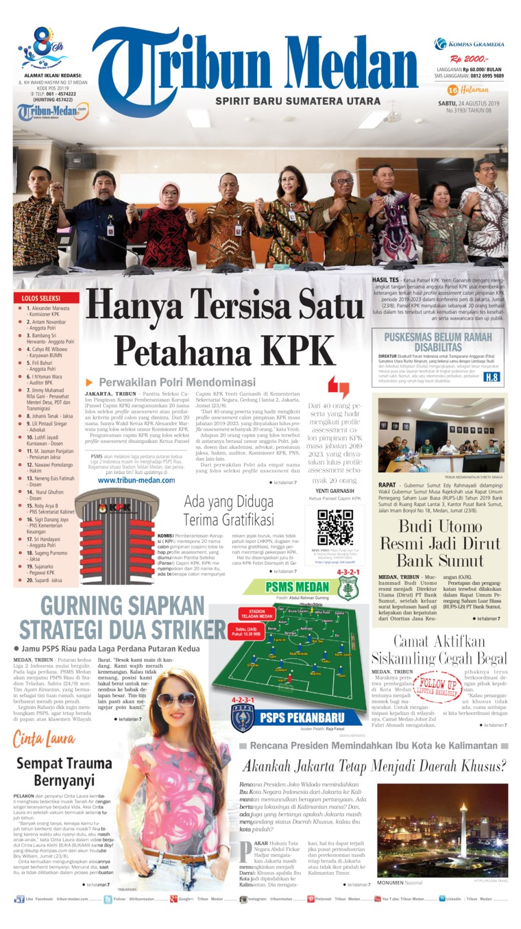 Tribun Medan Digital Newspaper 24 August 2019