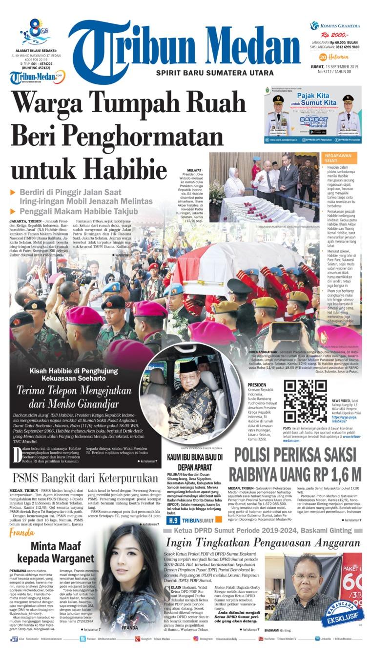 Tribun Medan Digital Newspaper 13 September 2019