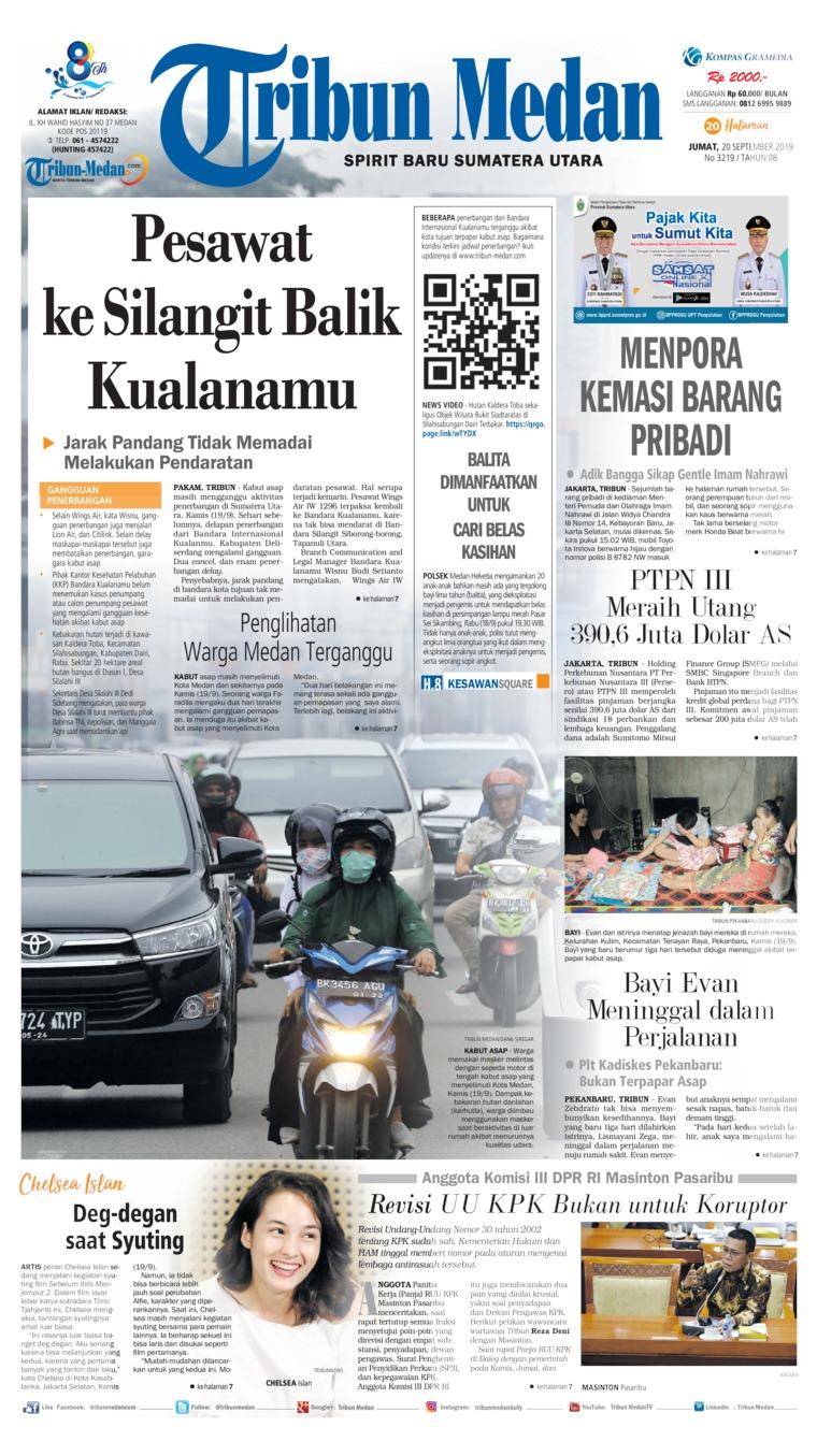 Tribun Medan Digital Newspaper 20 September 2019