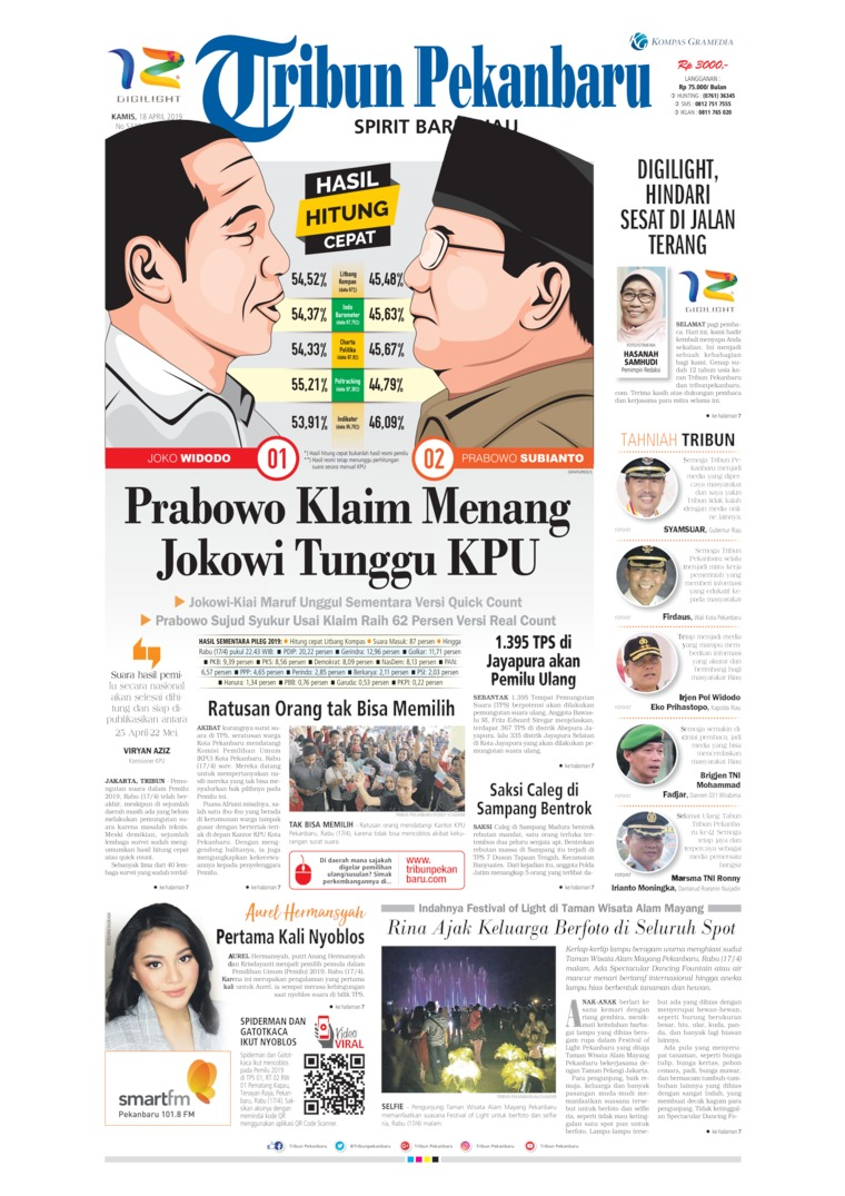 Tribun Pekanbaru Digital Newspaper 18 April 2019