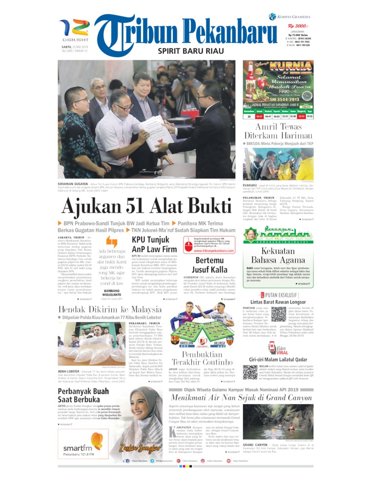 Tribun Pekanbaru Digital Newspaper 25 May 2019