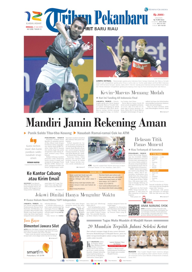 Tribun Pekanbaru Digital Newspaper 21 July 2019