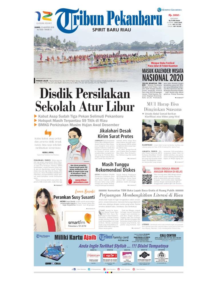 Tribun Pekanbaru Digital Newspaper 22 August 2019