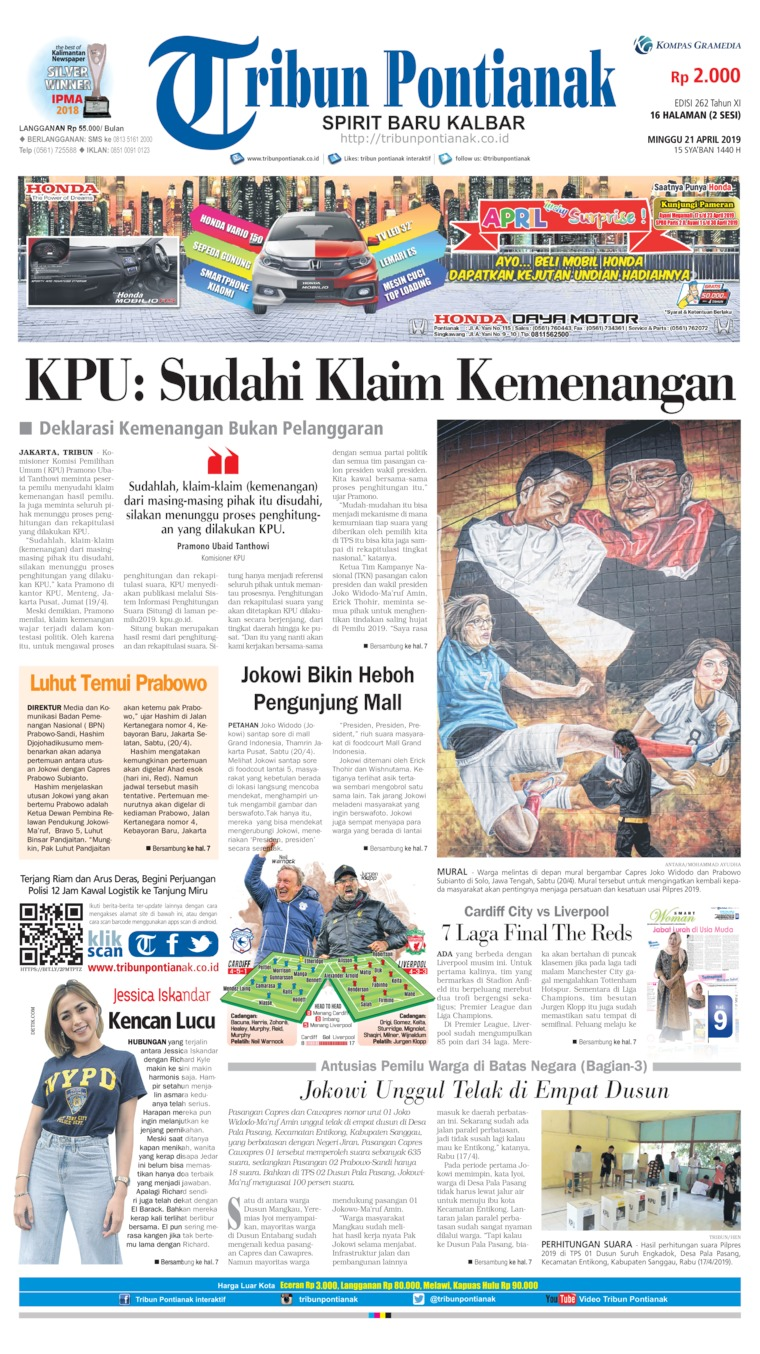 Tribun Pontianak Digital Newspaper 21 April 2019