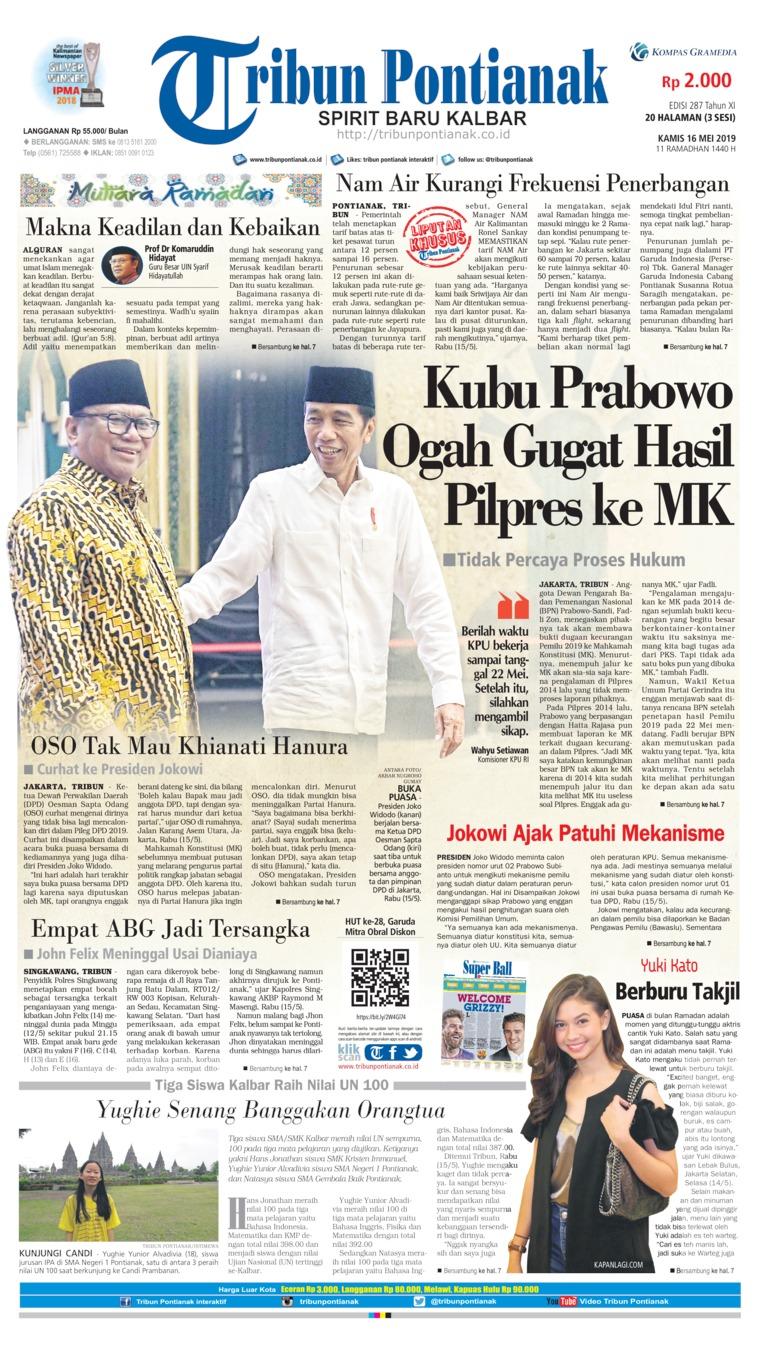 Tribun Pontianak Digital Newspaper 16 May 2019