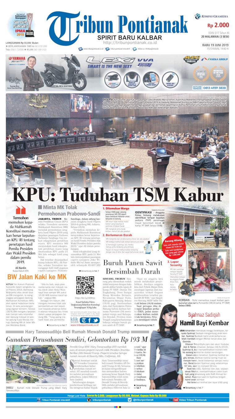 Tribun Pontianak Digital Newspaper 19 June 2019