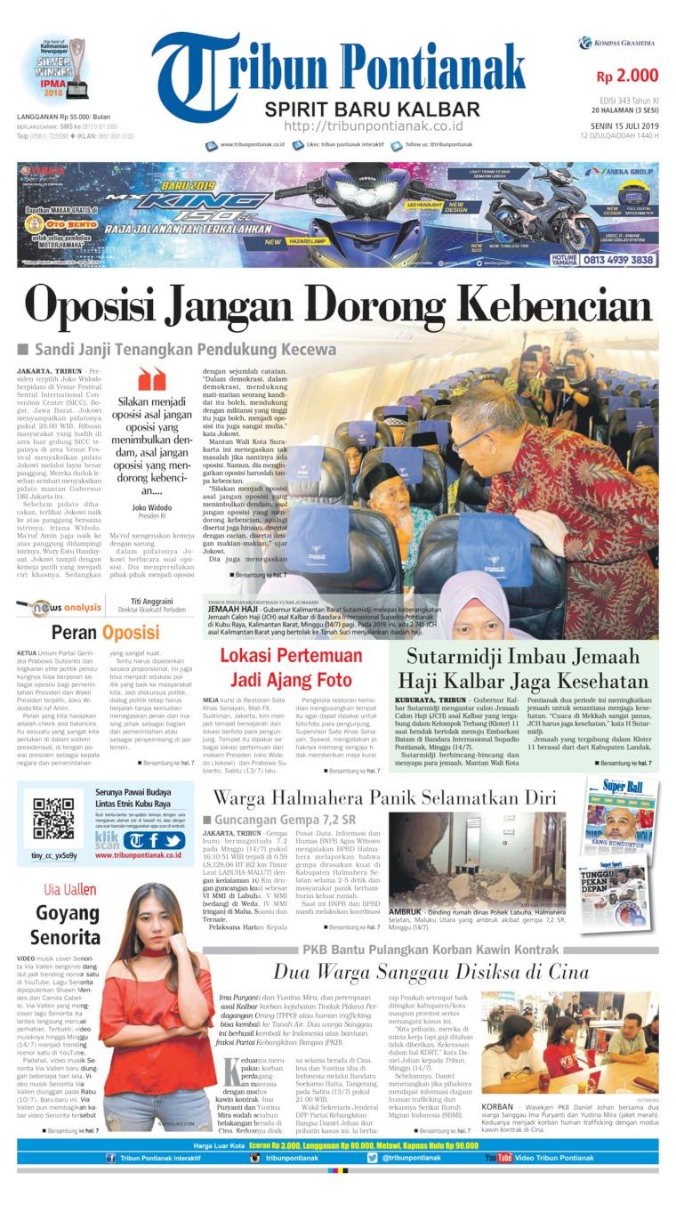 Tribun Pontianak Digital Newspaper 15 July 2019