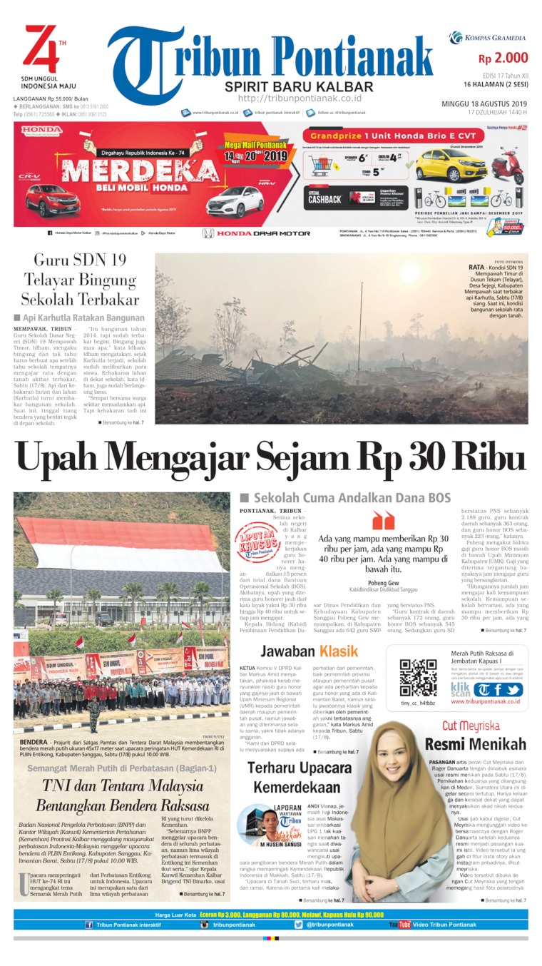 Koran Digital Tribun Pontianak 18 Agustus 2019