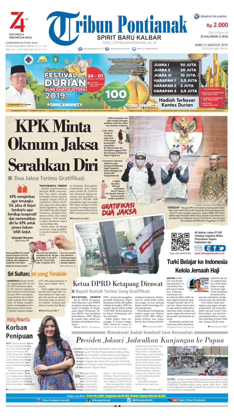 Tribun Pontianak Digital Newspaper 21 August 2019