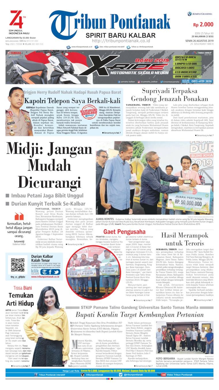Tribun Pontianak Digital Newspaper 26 August 2019