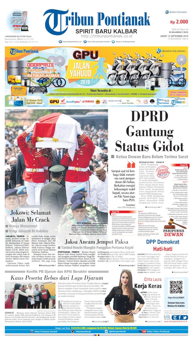 Tribun Pontianak Digital Newspaper 13 September 2019