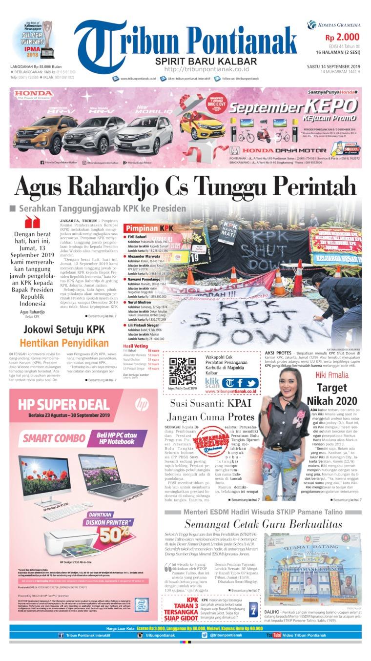 Tribun Pontianak Digital Newspaper 14 September 2019