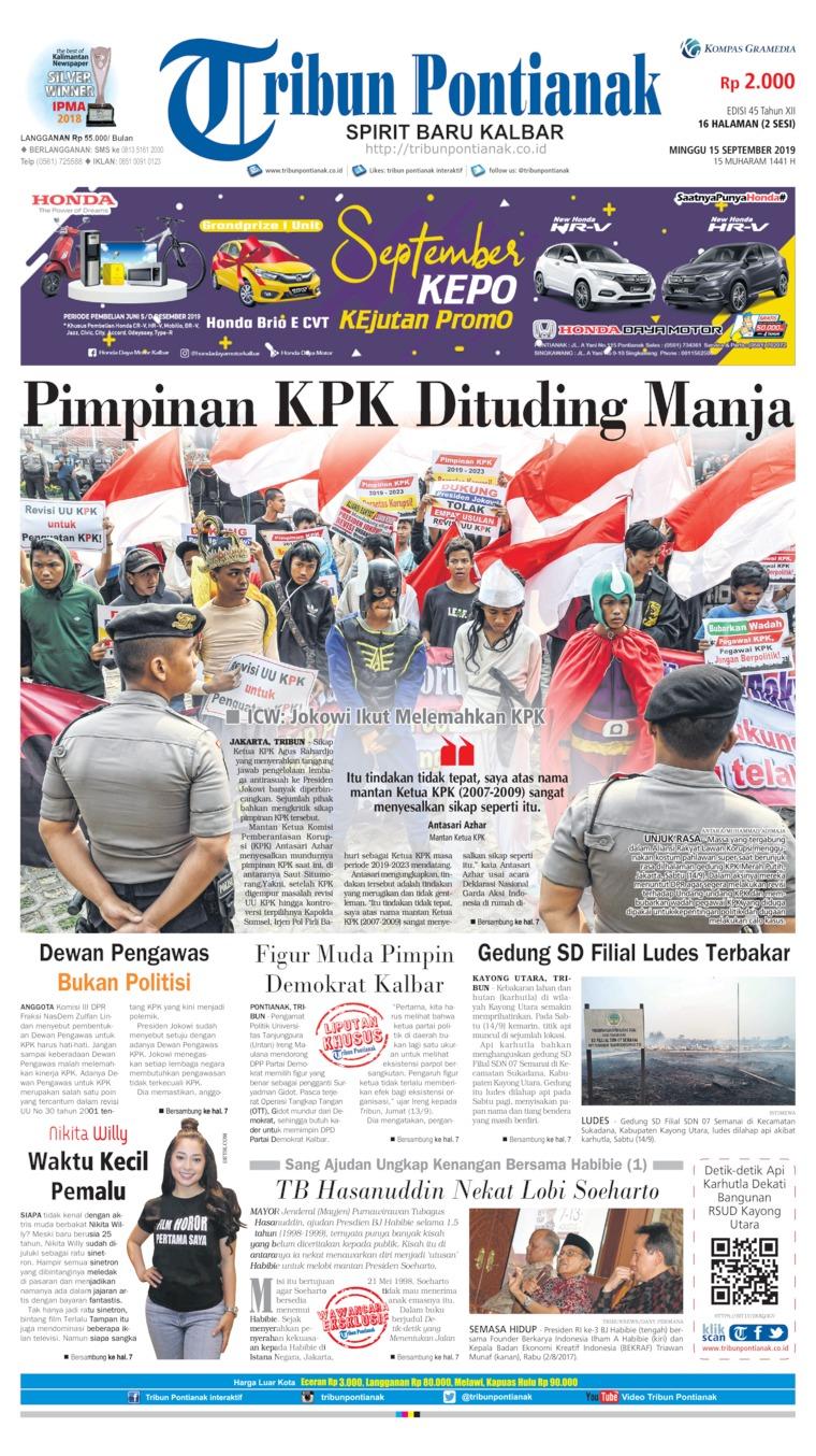 Tribun Pontianak Digital Newspaper 15 September 2019
