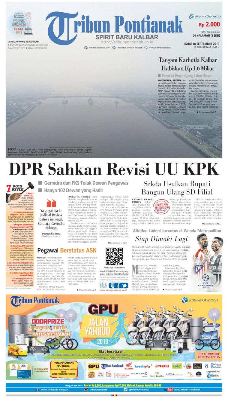 Tribun Pontianak Digital Newspaper 18 September 2019