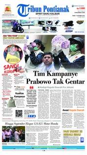 Cover Tribun Pontianak 17 Oktober 2018