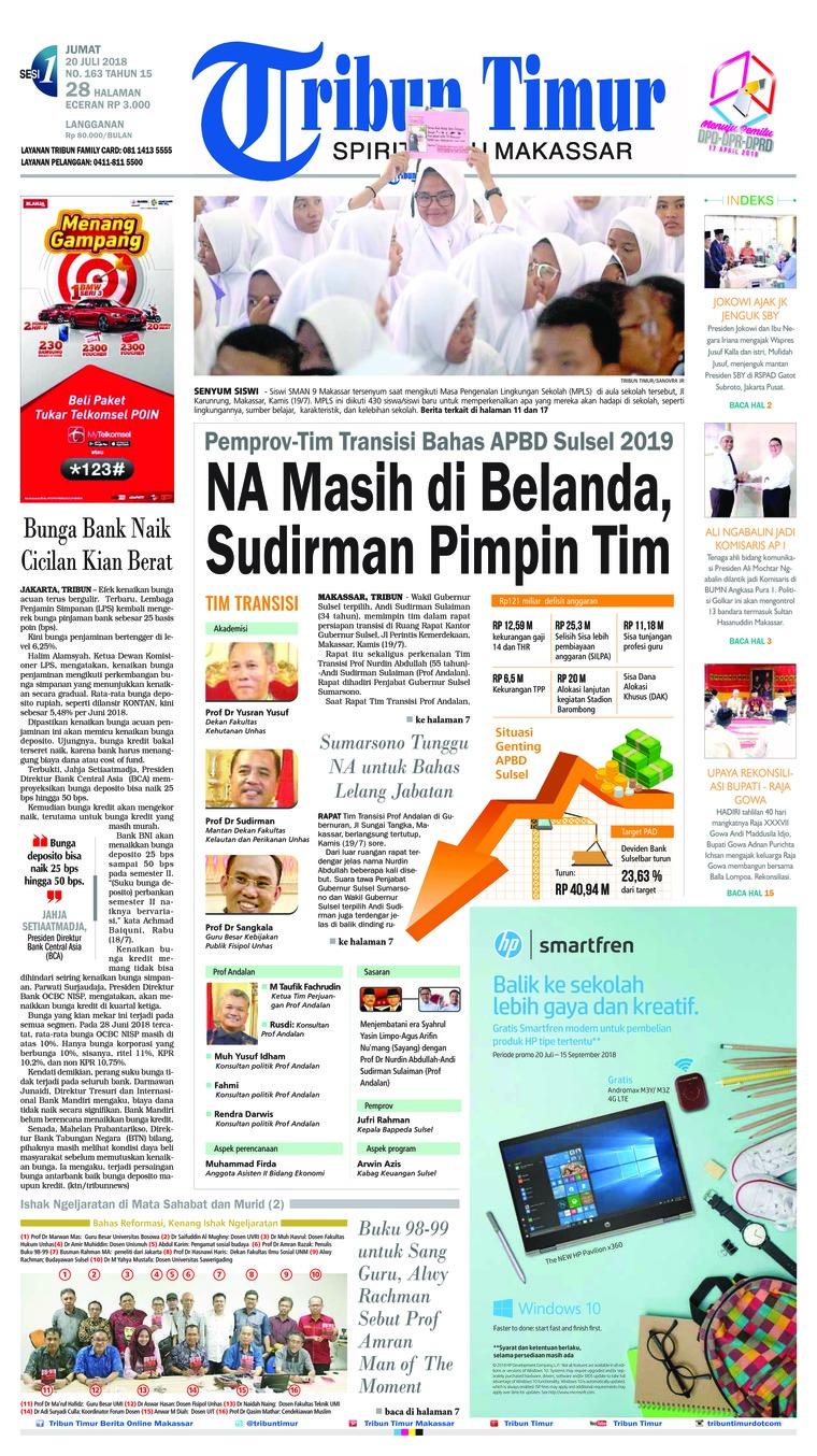 Tribun Timur Newspaper 20 July 2018 - Gramedia Digital