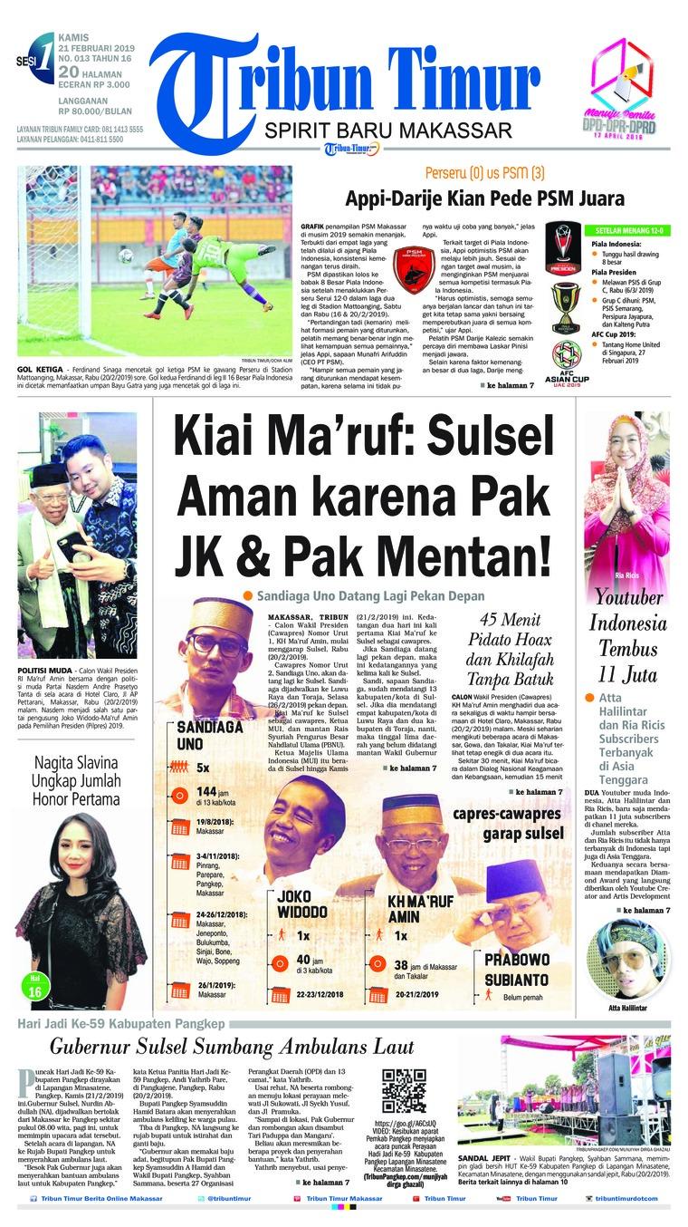 Tribun Timur Digital Newspaper 21 February 2019