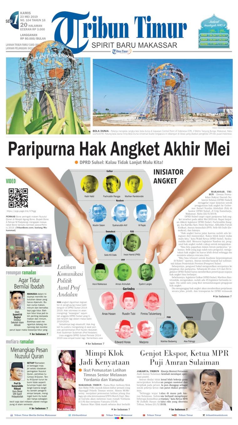 Tribun Timur Digital Newspaper 23 May 2019