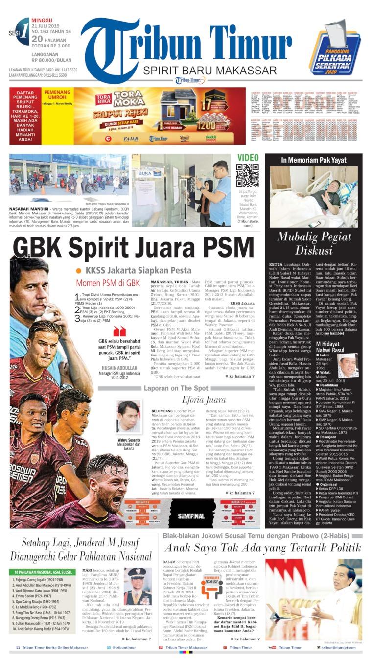 Tribun Timur Digital Newspaper 21 July 2019