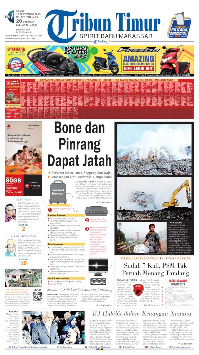 Tribun Timur Digital Newspaper 16 September 2019