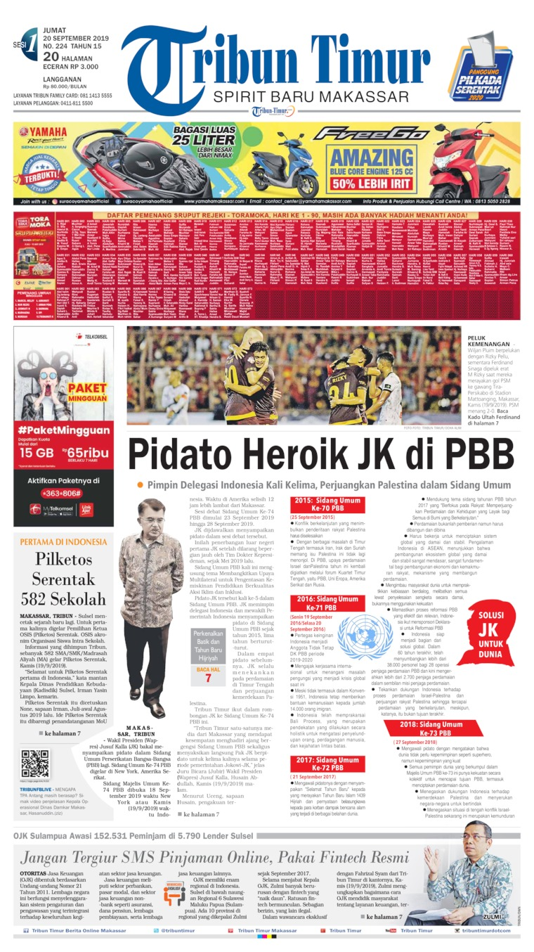 Tribun Timur Digital Newspaper 20 September 2019