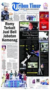 Cover Tribun Timur 16 Maret 2019