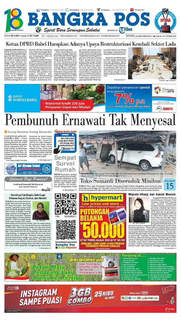 Koran Digital Bangka Pos 23 Oktober 2017