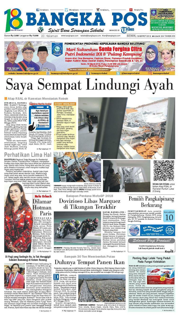 Koran Digital Bangka Pos 19 Maret 2018