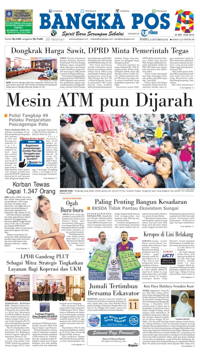 Bangka Pos Digital Newspaper 03 October 2018