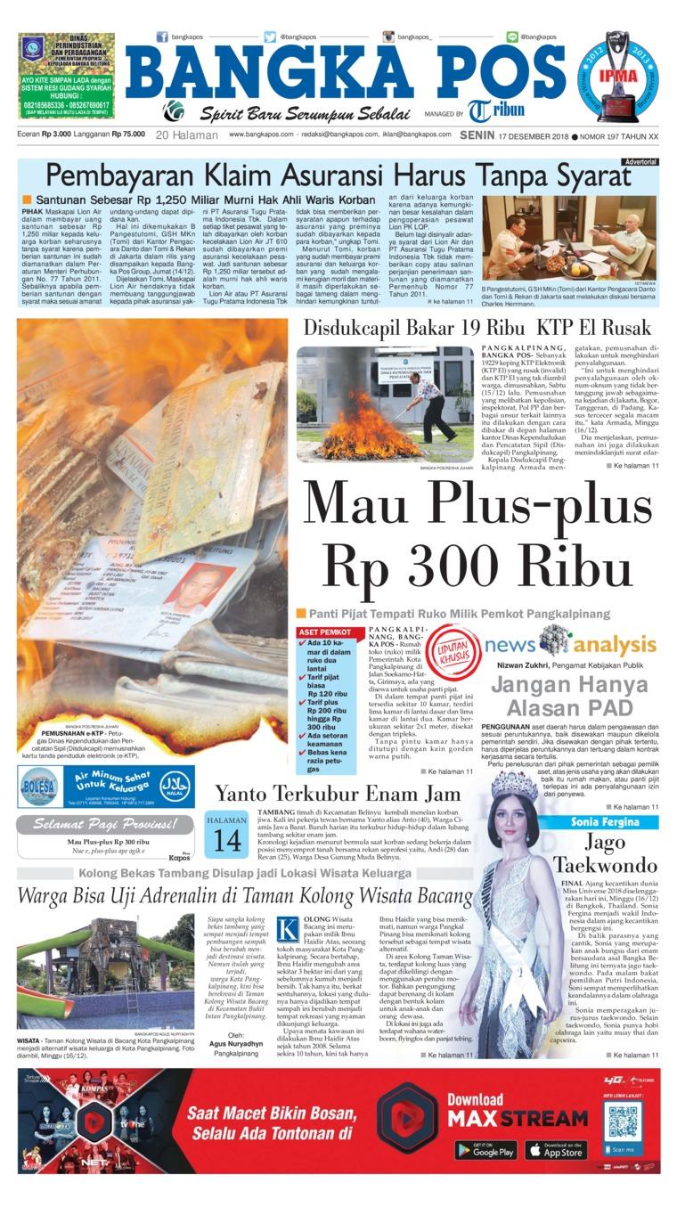Koran Digital Bangka Pos 17 Desember 2018