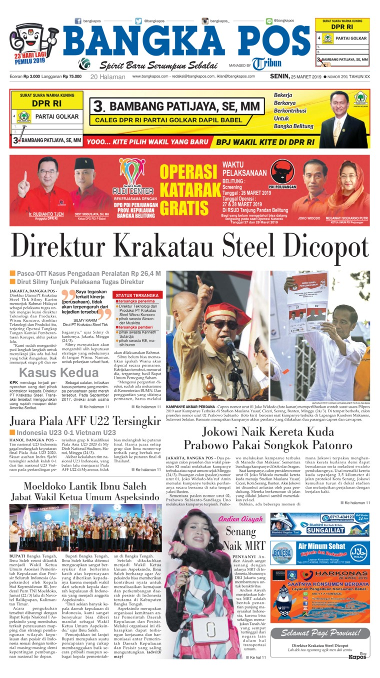 Bangka Pos Digital Newspaper 25 March 2019