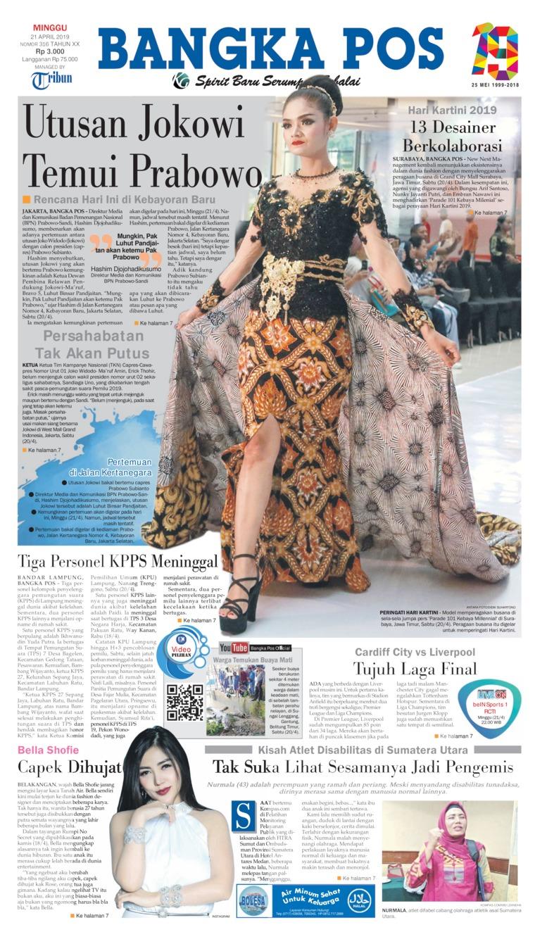 Bangka Pos Digital Newspaper 21 April 2019