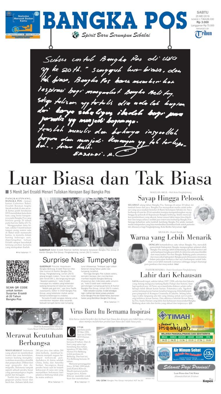 Bangka Pos Digital Newspaper 25 May 2019
