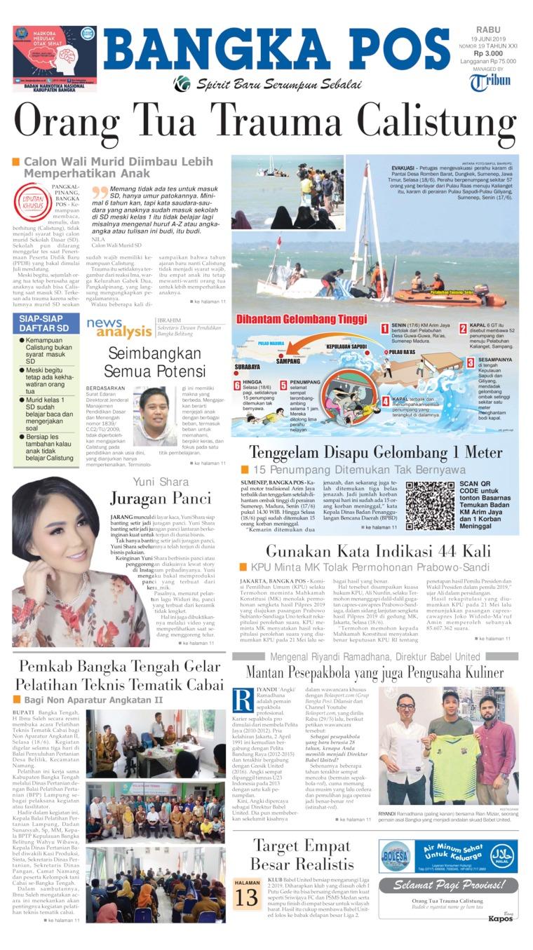 Bangka Pos Digital Newspaper 19 June 2019