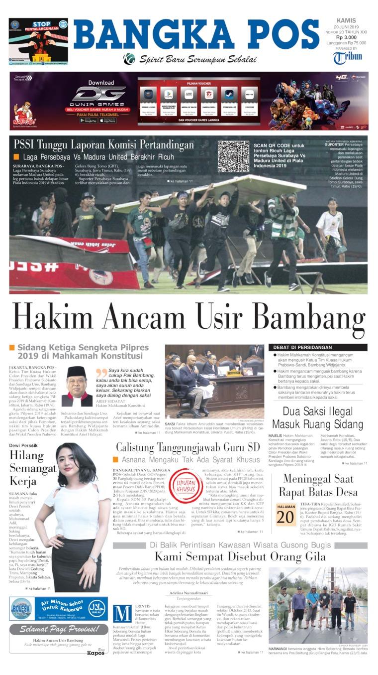 Koran Digital Bangka Pos 20 Juni 2019
