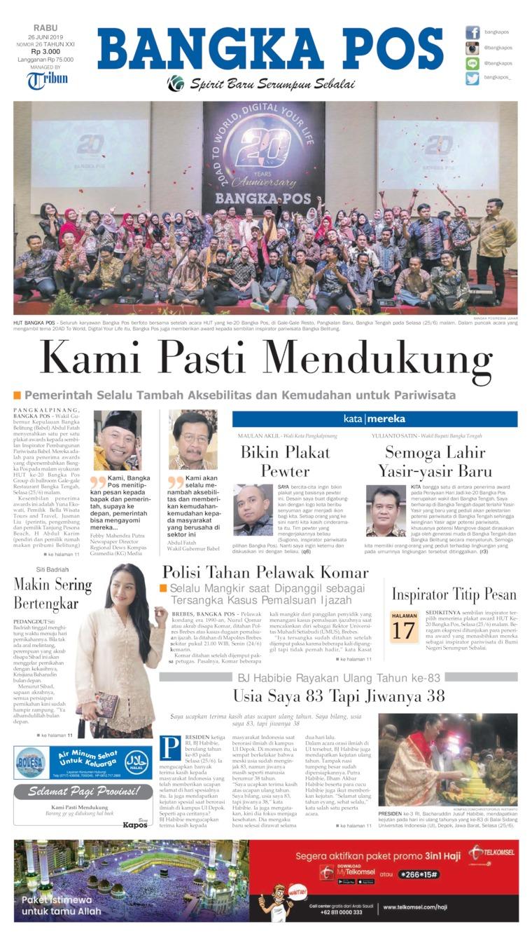 Koran Digital Bangka Pos 26 Juni 2019
