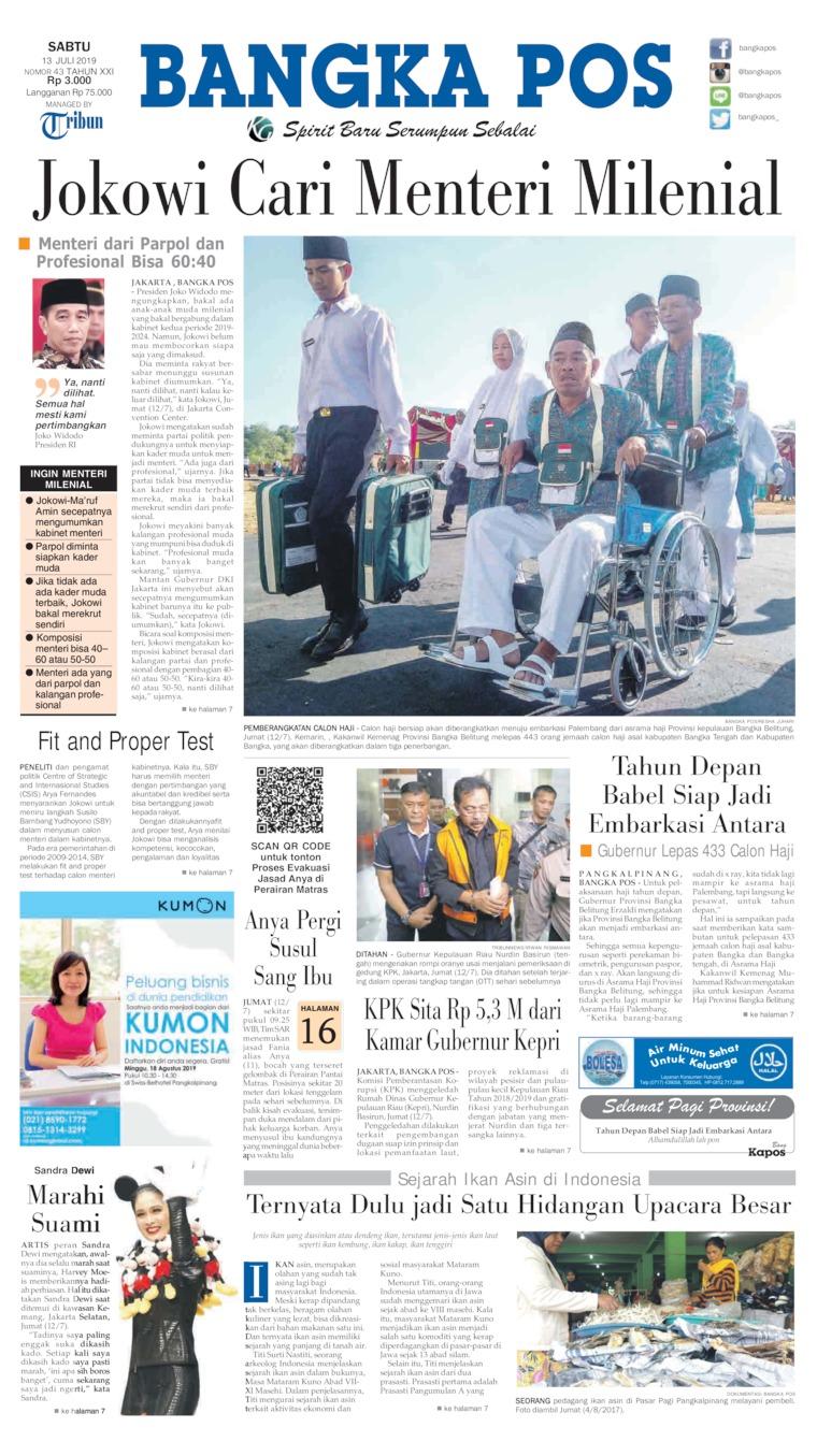 Koran Digital Bangka Pos 13 Juli 2019
