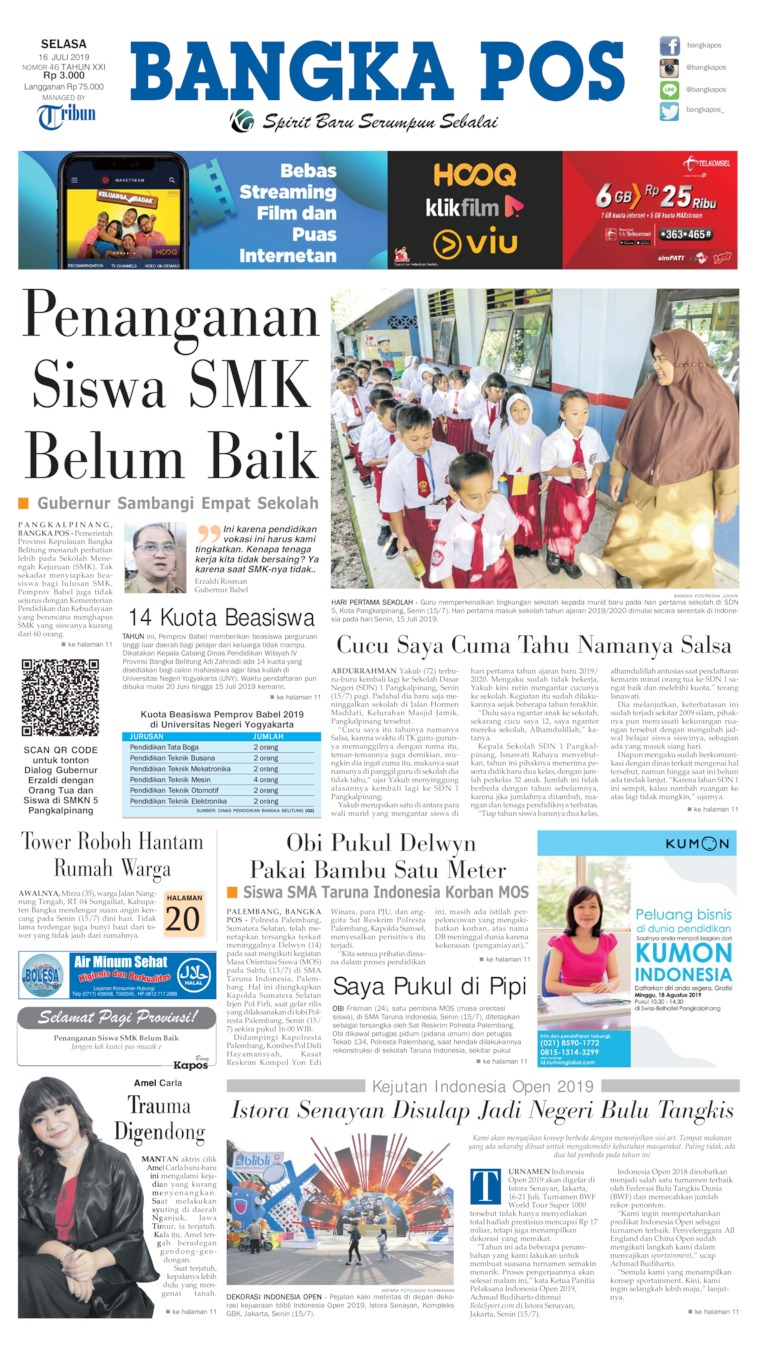 Koran Digital Bangka Pos 16 Juli 2019