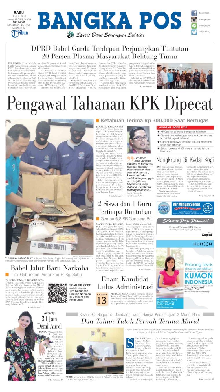 Koran Digital Bangka Pos 17 Juli 2019