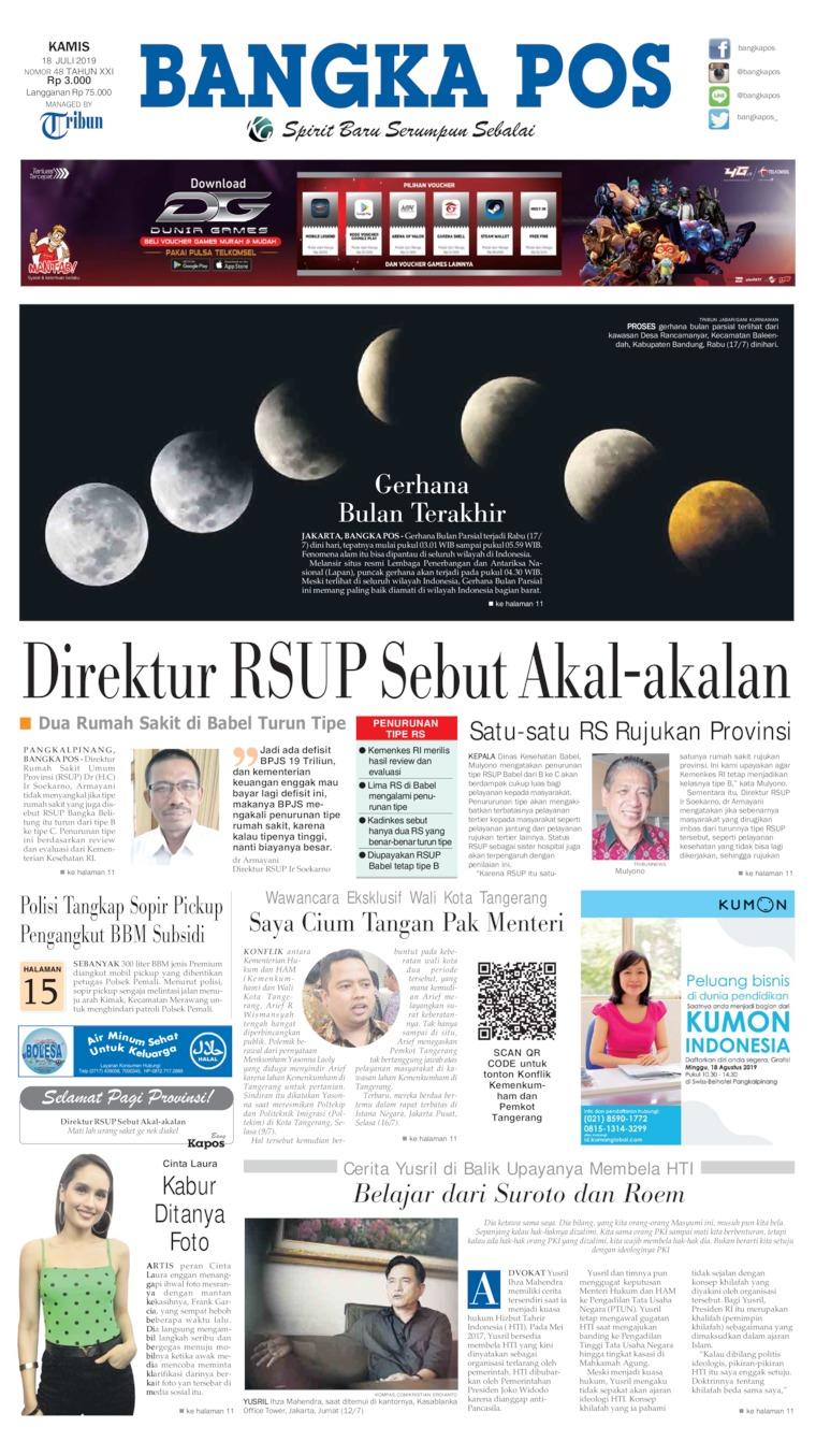 Koran Digital Bangka Pos 18 Juli 2019