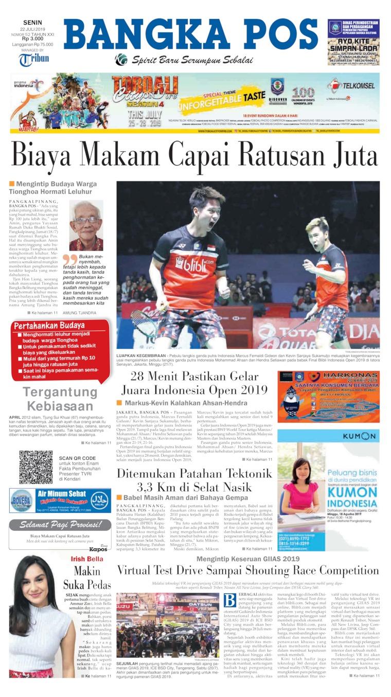 Bangka Pos Digital Newspaper 22 July 2019