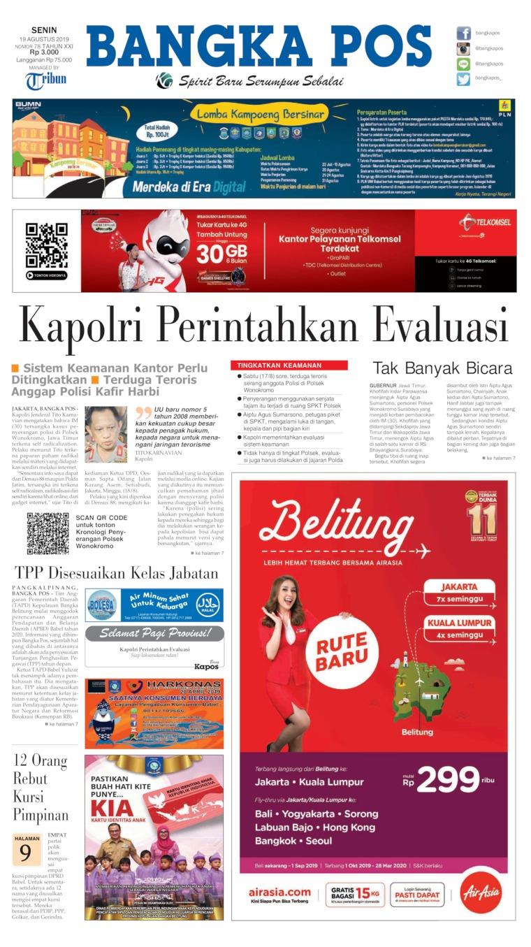 Bangka Pos Digital Newspaper 19 August 2019